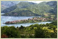 Lago+di+Tora River, Digital, Painting, Outdoor, Green, Mountain, Outdoors, Painting Art, Paintings