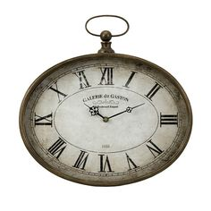 """Old world pocket watch inspired wall clock with roman numerals. Dimensions: 16.25""""h x 16""""w x 2""""d Material:"""