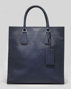 N28TL Prada Saffiano Men's North-South Side-Logo Tote Bag, Navy