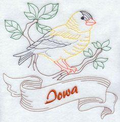 Iowa - Eastern Goldfinch (Redwork) design (J2480) from www.Emblibrary.com