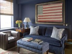 Via Mrs Howard, Blue man office.  Love the leather chair with the soft couch.