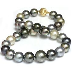 Round Tahitian South Sea Pearl Necklace 16 - 13 mm Fancy Multi Color AAA- Quality 14K Solid Fluted 13 mm Yellow Gold Clasp