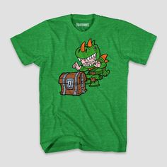 70d18098 Boys' Fortnite Dinoguy Chibi & Chest Short Sleeve T-Shirt - Green Heather L
