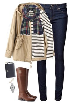 """Khaki, stripes & plaid"" by steffiestaffie ❤ liked on Polyvore featuring Naked & Famous, J.Crew, Sole Society, Tory Burch, Lord & Taylor and Marc by Marc Jacobs"