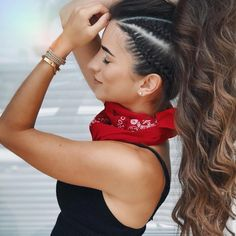 25 Side Braid Hairstyles Which Are Simply Spectacular Switching up your hairstyle doesn't have to warrant a visit . Read Side Braid Hairstyles Which Are Simply Spectacular High Ponytail Hairstyles, High Ponytails, Loose Hairstyles, Spring Hairstyles, Bandana Hairstyles For Long Hair, High Ponytail With Braid, Side Braids For Long Hair, Stylish Hairstyles, Prom Hairstyles