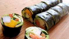 Paleo Sushi (omit the red pepper; I think carrot would be a good substitute)Paleo Sushi (omit the red pepper; I think carrot would be a good substitute) Paleo Sushi, Paleo Diet, Sushi Sushi, Sushi Rolls, Primal Recipes, Healthy Recipes, Entree Vegan, Whole Food Recipes, Cooking Recipes