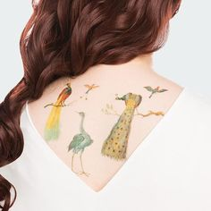 Originally painted by the circle of Jan van Kessel in the 1660's, these gorgeous birds - including a Bird of Paradise, Heron, and Painted Peacock - have migrated out of the iconic painting Study of Birds and Monkey and into a set of timeless (but temporary!) tattoos. Created by Tattly in partnership with the National Gallery of Art in Washington, D.C.