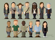 Fan art. Maggie, Glenn, Carl, Rick, Michonne, Daryl & Carol. Sasha, Abraham, Morgan, Rosita, Eugene & Tara