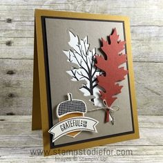card making tutorial: Stampin Up Acorny Thank You Stam Set, Leaflets Framelits… Fall Cards, Winter Cards, Holiday Cards, Christmas Cards, Christmas Tree, Handmade Greetings, Greeting Cards Handmade, Halloween Cards, Fall Halloween
