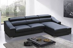 Amazon.com - Modern Contemporary Black Bonded Leather Sectional Couch -