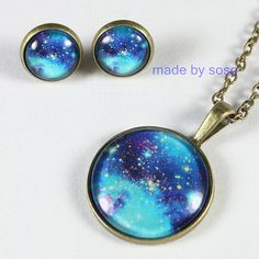 Galaxy Universe jewelry Space star Necklace Nebula earrings Aurora necklace science blue earrings stud NO.5