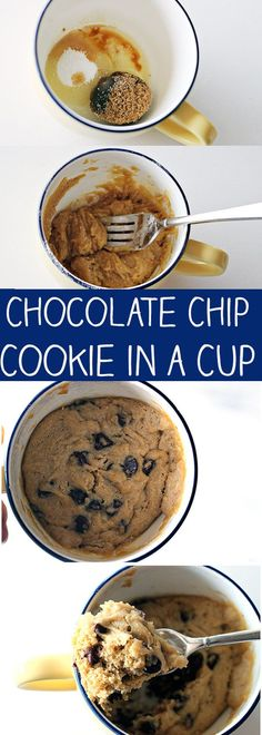 Chocolate Chip Cookie in a Cup – the original easy microwave cookie in a mug recipe! Chocolate Chip Cookie in a Cup – the original easy microwave cookie in a mug recipe! More from my site 1 Minute Healthy Microwave Mug Brownie Recipe Microwave Cookies, Microwave Mug Recipes, Mug Cake Microwave, Baking Recipes, Easy Microwave Desserts, Microwave Chocolate Chip Cookie, Easy Desserts To Make, Easy Things To Bake, Microwave Baking