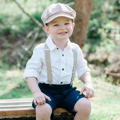 Ring Bearer Suspenders, Bowtie And Suspenders, Ring Bearer Outfit, Pageboy Outfits, Navy Rings, Shiny Fabric, Page Boy, News Boy Hat, Rings For Girls