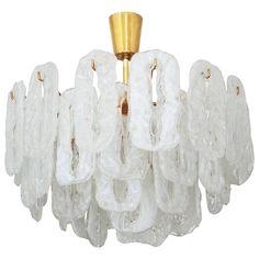 Ice Glass Chandelier Attributed to Kalmar Chandelier Pendant Lights, Modern Chandelier, Pendant Lamp, Glass Light Fixtures, Elegant Chandeliers, Unique Lighting, Interior Lighting, Ceiling Lamp, Light Decorations