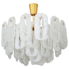 Ice Glass Chandelier Attributed to Kalmar | See more antique and modern Chandeliers and Pendants  at http://www.1stdibs.com/furniture/lighting/chandeliers-pendant-lights