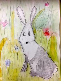 LAPIN aquarelle et crayon gris