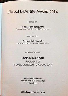 Global Diversity Award - London, Oct 2014 John Bercow, House Of Commons, Shahrukh Khan, Westminster, Diversity, Affair, Bollywood, Awards, Presents
