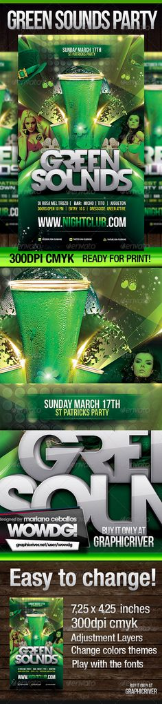 St. Patrick Green Sounds #GraphicRiver Hope you enjoy this St. Patrick Green Sounds flyer! Help file included MODEL IS NOT INCLUDED Psd file all layered 300dpi, CMYK print ready! FREE Fonts used: Devil Breeze .dafont /devil-breeze.font Bebas .dafont /bebas.font Flyer 4.25×7.25 inches + bleeds. Here download and purchase the main image photodune /item/cold-green-beer/1328117 Flyer 4.25×7.25 inches + bleeds. You can easily change all in this design: color,fonts and pictures. Credits Text…