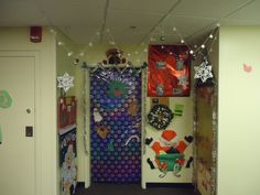A very festive residence hall Christmas decoration. Make your college dorm room just as festive!