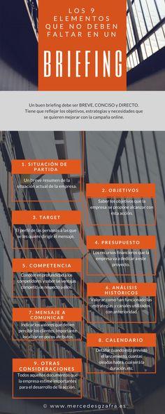 Un BRIEFING debe ser «breve, conciso y directo». ¿Conoces los 9 elementos que no deben faltar? #marketing #infografía #marketingonline