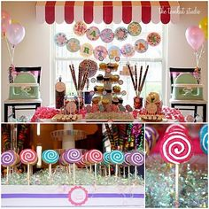Awning over the china cabinet The TomKat Studio: {Sweet Customers} Lollipop Birthday Party for Twins! Lollipop Birthday, Lollipop Party, Candy Party, 1st Birthday Parties, Birthday Celebration, Party Favors, Birthday Ideas, Lollipop Cookies, 25th Birthday