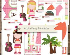 Aloha Hawaii and Luau Printable Birthday Party Decorations INSTANT DOWNLOAD