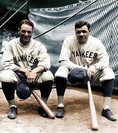 Lou Gehrig and Babe Ruth pose for a photo during the 1927 World Series. By the early Gehrig would gradually succeed the aging Ruth as the New York Yankees' dominant slugger. (Louis Van Oeyen / National Baseball Hall of Fame Library) New York Yankees Baseball, Pro Baseball, Yankees Fan, Nationals Baseball, Baseball Players, Baseball League, Baseball Equipment, Baseball Jerseys, Basketball