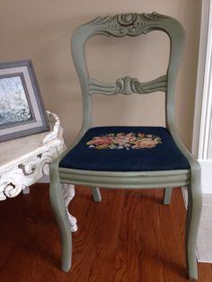 green vintage chair painted with Annie Sloan Cahalk Paint in the color Chateau Grey on Etsy, $130.00