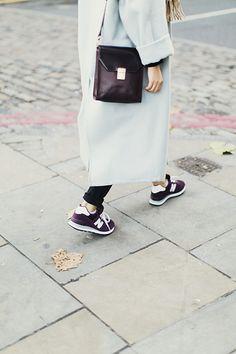 long coat and sneakers