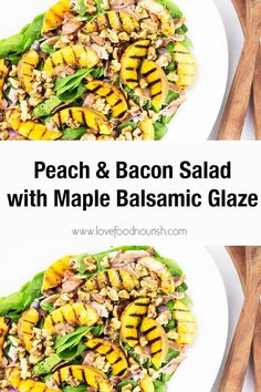 The combination of juicy grilled peaches, smoky bacon, fresh basil, and crunchy walnuts topped by a delicious maple balsamic dressing makes this peach and bacon salad a peach recipe that will become on regular rotation over summer. This healthy summer salad is so easy to make and full of great flavours! Grilled Peach Salad, Bacon Salad, Grilled Peaches, Clean Eating Salads, Clean Eating For Beginners, Clean Eating Recipes For Dinner, Healthy Summer Recipes, Healthy Salad Recipes, Lunch Recipes