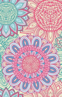 floral ornament by patternalized - #pink #floral #doodle #pattern