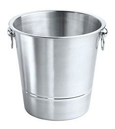 Our single wall brushed stainless steel champagne bucket features a contemporary polished circle design. Attractive in any setting, casual or elegant. Two ring handles enhance design and functionality.