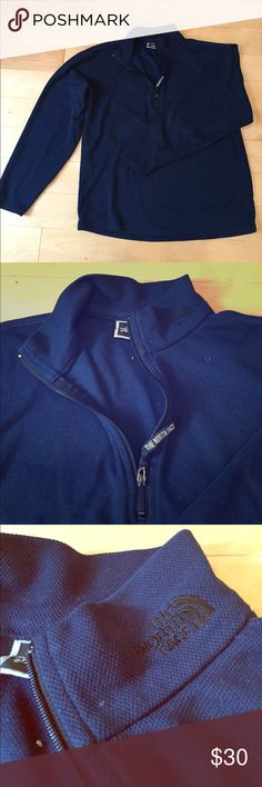 North Face quarter zip pullover North Face quarter zip pullover. Size is small. Color is navy blue. Material is polyester. Warm, great condition. Either can be used as a sweater or base layer. Great condition, no tears or stains. Selling because I need to downsize my closet. Made in USA. The North Face Sweaters Zip Up