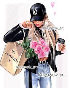 Fashion Illustration Sketches, Illustrations, Fashion Prints, Fashion Art, Mother Daughter Art, Hand Embroidery Videos, Cute Girl Wallpaper, Coffee Girl, Arte Disney
