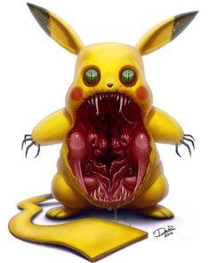 personnages-de-dessins-animes-en-monstres-horribles-par-dennis-carlsson-4-pikachu