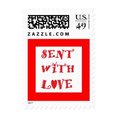 """Sent With Love"" Postage Stamps are great for thank yous, get well wishes, Valentine's Day, etc."