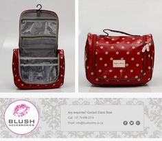 This lovely red polka dot vanity case is the ideal bag to keep all your makeup items together while traveling! Makeup Items, Makeup Yourself, Claire, Messenger Bag, Satchel, Polka Dots, Traveling, Africa, Blush