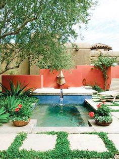 garden colors, pavers with clover grass, mini pool