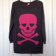 """Jolly Roger Skull Sweater Adorable!!  Lightweight knit gray sweater, perfect for Spring evenings. Perfect condition!  Size 2.  Will fit Size XS and Small. Length is 26"""". No trades. Price is firm. H&M Sweaters Crew & Scoop Necks"""