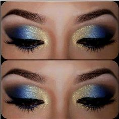 12 Gorgeous Blue and Gold Eye Makeup Looks and Tutorials Beautiful blue and gold smokey eye makeup - Das schönste Make-up Gold Eyeliner, Gold Eye Makeup, Smokey Eye Makeup, Smoky Eye, Mermaid Eye Makeup, Peacock Eye Makeup, Butterfly Makeup, Sparkly Makeup, Silver Makeup