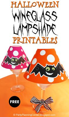FREE Printable Halloween Wineglass Lampshade | All you need are these free printable mini lampshade templates, wineglasses and battery-powered votives, and you can make your own DIY lighted table or mantel decorations. | The lampshades come in two background colors: magenta and orange.    #Halloween #HalloweenDecorations #HalloweenDecor #HalloweenBats #Bats #MiniLampshades #PrintableLampshades #CarlaChadwick Halloween Bats, Halloween Decorations, Party Printables, Free Printables, Diy Light Table, Lampshades, Sewing Hacks, Make Your Own, Colorful Backgrounds