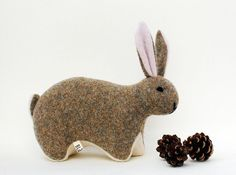 handmade rabbit from upcycled sweater (felted wool) $49