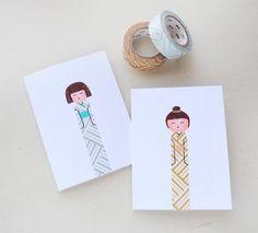 Kokeshi Doll Greeting Cards
