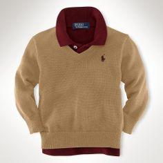 Long-Sleeved V-Neck Sweater - Infant Boys Sweaters - RalphLauren.com