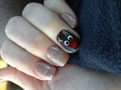 Christmas nail design - Rudolph