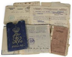 Fascinating group of 11 documents crying out for deeper research. 'Franz Jude' was a WWI grenadier (complete with a wound badge certificate issued in 1918) who was apparently treated as a Jew during WWII. Lot also includes his WWI military passport; his soldbuch; 1938 life insurance notice sent to Jude and 'Frau Steinberg' regarding a payment made on the death of their son; Nazi receipt for radio; 5 mailed cards (4 from Allenstein); more. The ultimate fate of 'Franz Jude' is unknown…