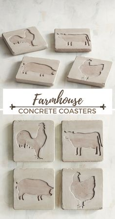 Farmhouse style concrete farm animal coasters. I love the natural, rough concrete look. Perfect for our kitchen. #ad #concrete #farmhouse #rustic #coaster #kitchen #cement #farmanimal