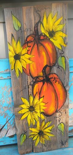 Pumpkins and sunflowers painting on reclaimed wood fence hand painted by Bill Miller of Miller's Art Farmhouse decor front back porch decor - Pallet Decor Pallet Painting, Pallet Art, Painting On Wood, Basic Painting, Autumn Painting, Autumn Art, Country Wood Signs, Wood Fence Design, Pumpkin Art
