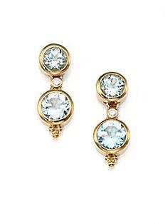 Temple St. Clair - Diamond & Aquamarine 18K Gold Drop Earrings