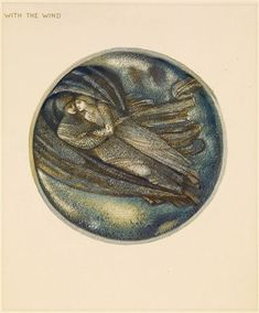 The Flower Book - With the Wind By Sir Edward Burne-Jones 1905 Circular image. An embracing couple, covered in a protective shroud.